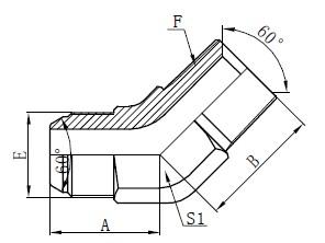 JIS GAS الكوع موصلات الرسم